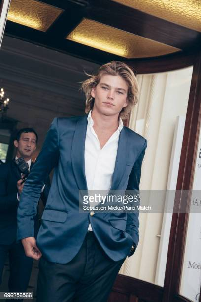 Fashion model Jordan Barrett is photographed for Paris Match whilst attending the Amfar Gala at the Eden Roc Hotel on May 25 2017 in Antibes France