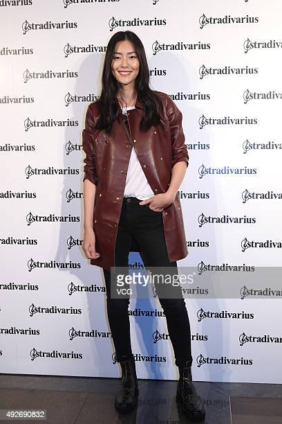 Fashion model Liu Wen attends the Stradivarius presentation during the Spring and Summer 2016 Shanghai Fashion Week on October 14 2015 in Shanghai...