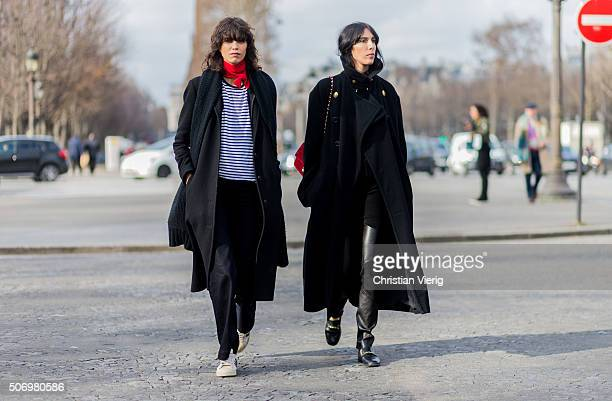 Fashion model Mica Arganaraz outside Chanel during the Paris Fashion Week Haute Couture Spring/Summer 2016 on January 26 2016 in Paris France