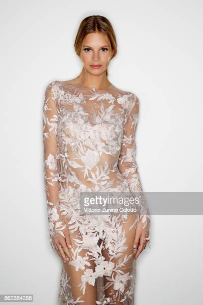 Fashion model Nadine Leopold poses for a portrait during amfAR Gala Milano on September 21 2017 in Milan Italy