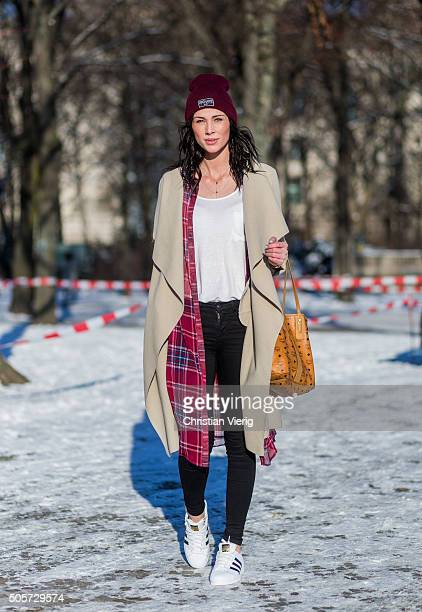 Fashion model Nadine Trinker outside Lena Hoschek during the MercedesBenz Fashion Week Berlin Autumn/Winter 2016 at Brandenburg Gate on January 19...