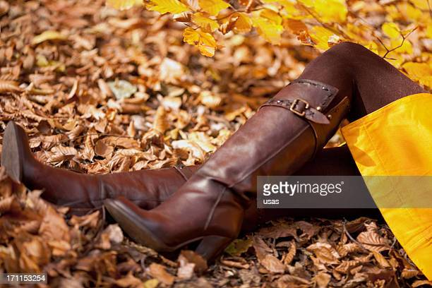 Fashion Model On  Colorful Autumn Leaves