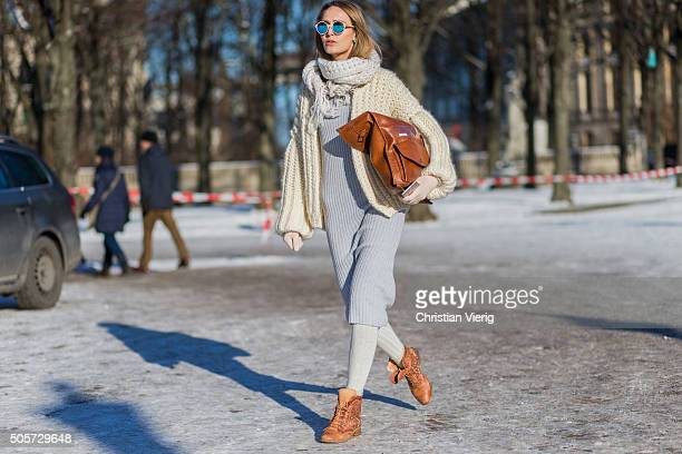 Fashion model Pamina Weià wearing Sabrina Weigt dress and jacket sunglasses Kerbholz socks Tommy Hilfiger Boots Felmini outside Lena Hoschek during...