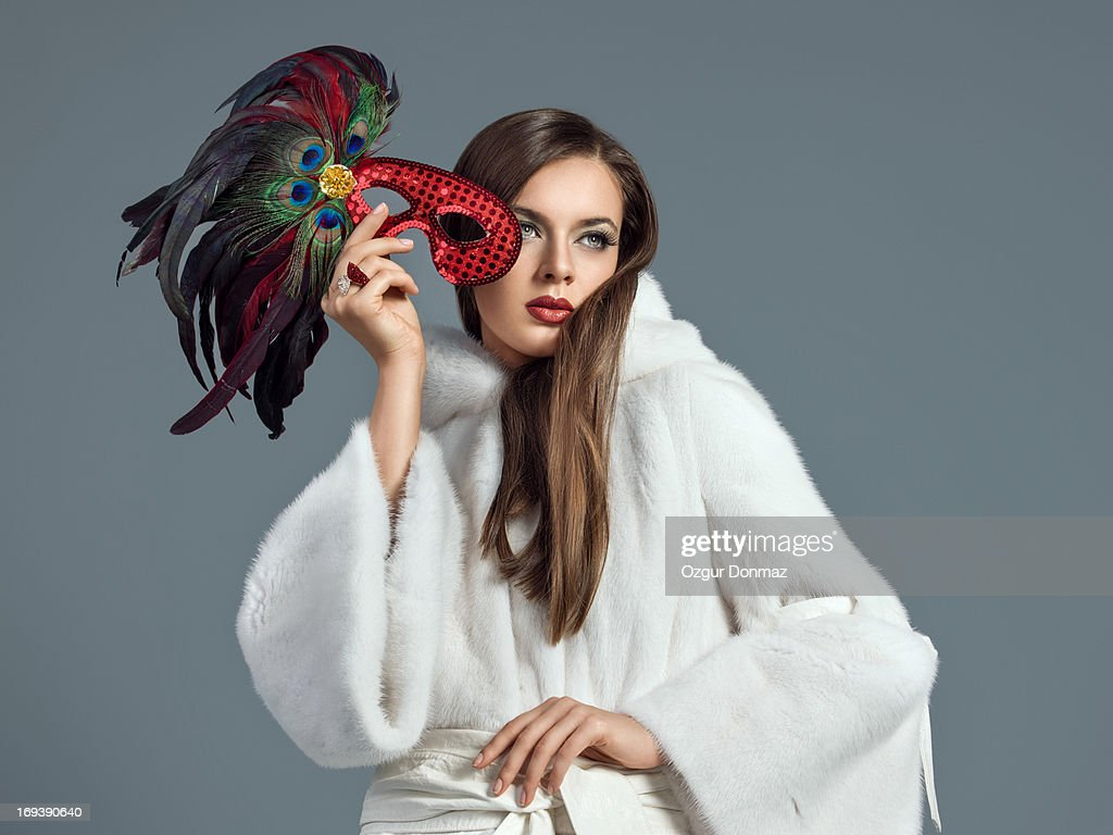 Fashion model posing in fur : Stock Photo