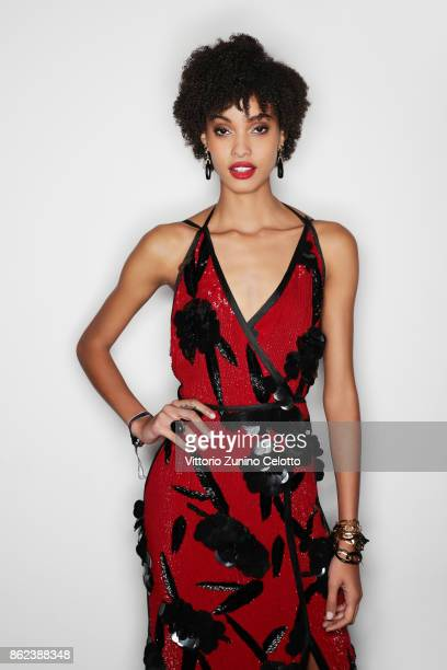 Fashion model Samile Bermannelli poses for a portrait during amfAR Gala Milano on September 21 2017 in Milan Italy
