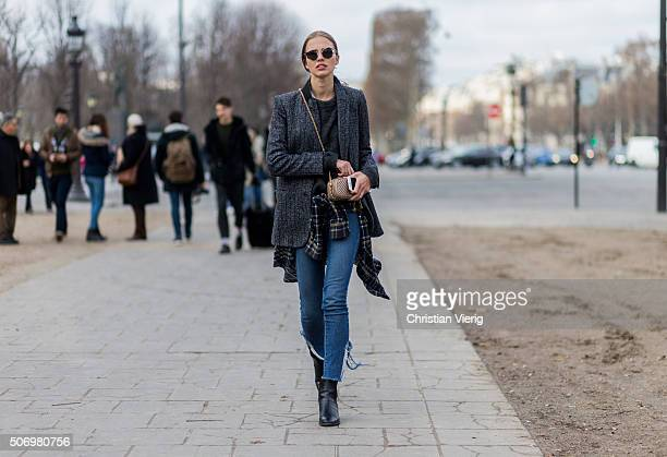 Fashion model Sasha Luss outside Chanel during the Paris Fashion Week Haute Couture Spring/Summer 2016 on January 26 2016 in Paris France