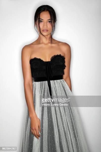 Fashion model Shanina Shaik poses for a portrait during amfAR Gala Milano on September 21 2017 in Milan Italy