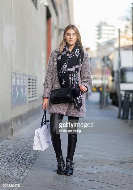 Fashion Model Stefanie Giesinger wearing a Lala Berlin coat on December 10 2015 in Berlin Germany