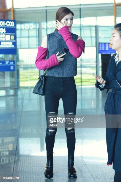 Fashion model Sui He arrives at Beijing Capital International Airport on October 11 2017 in Beijing China