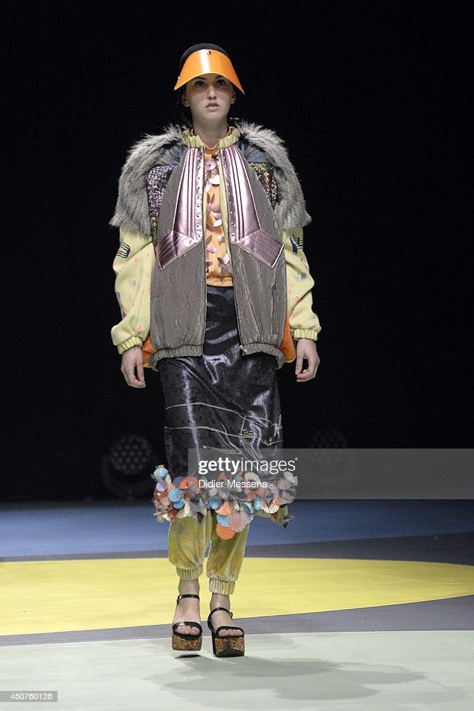 A fashion model wearing a design from Ola Kawalko walks the catwalk of The Antwerp Fashion Academy show on June 12, 2014 in Antwerpen, Belgium.