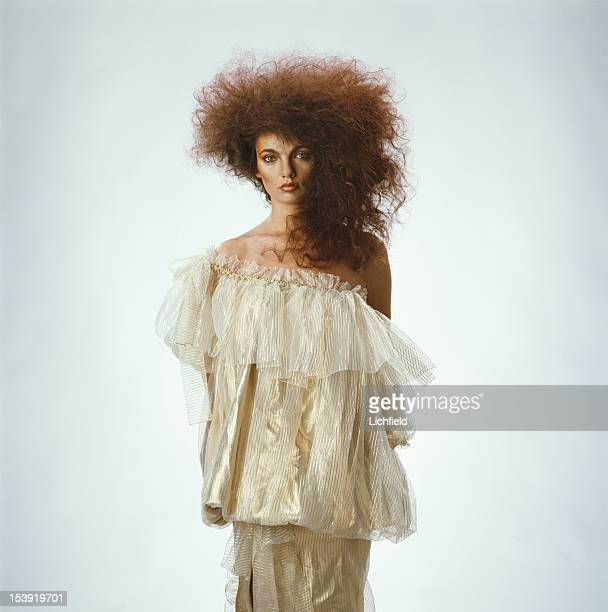 A fashion model with hair by L'Oreal circa 1982