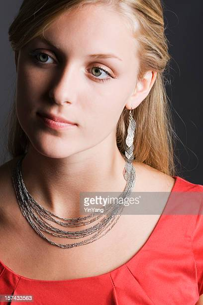 Fashion Model with Silver Necklace and Earrings Vt