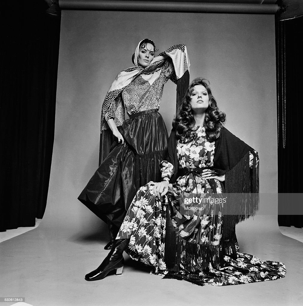 Fashion models Ann Norman and Belinda show bodices long skirts and shawls made from silk 13th January 1970