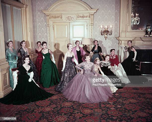 Fashion models displaying a selection of gowns designed for the Coronation of Queen Elizabeth II at Claridges London 1953