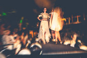Fashion models on runaway during the fashion week.