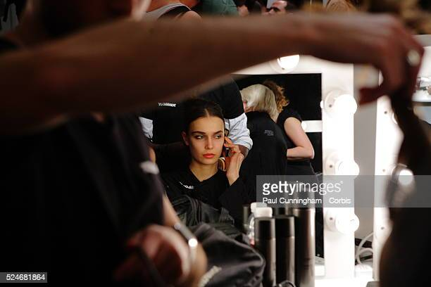 Fashion Model's prepare in the back stage salon of the runway for the Bora Aksu Fashion Autumn Winter Collection during London Fashion Week at...