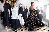 Fashion models wearing Chanel haute couture from the Autumn Winter collection by Karl Lagerfeld are photographed for Paris Match at the Grand Palais...