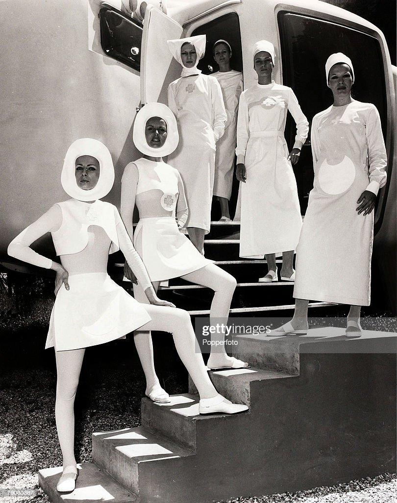 Fashion, Paris, France, 9th June 1970, Models show the new 'space age' nurses uniform for the future, designed by Pierre Cardine