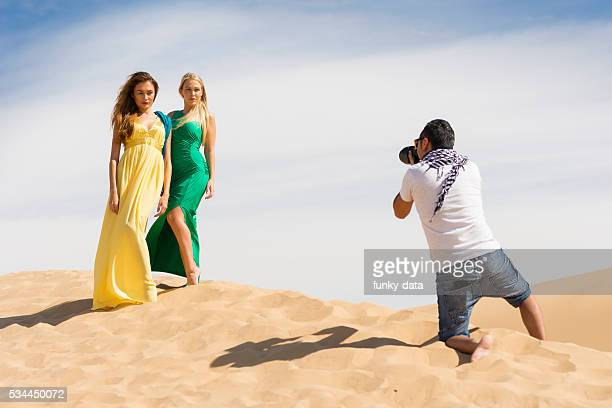 Fashion photo shoot in desert