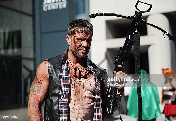 Fashion Photographer Jamie McCarthy poses as Daryl Dixon from The Walking Dead during New York ComicCon 2015 at The Jacob K Javits Convention Center...