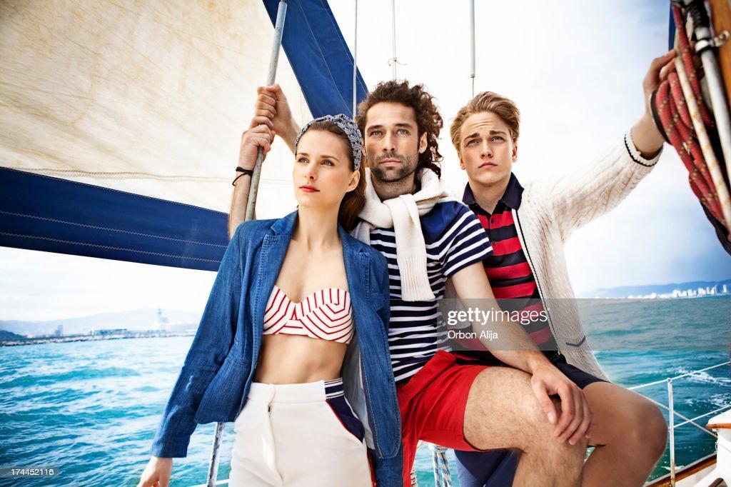 Fashion portrait in a vintage sailing boat