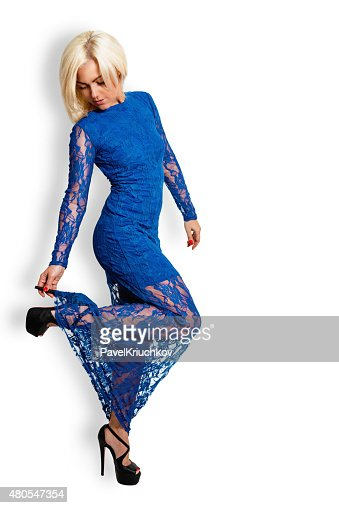 Fashion portrait of a beautiful blonde woman in a full-length : Stock Photo