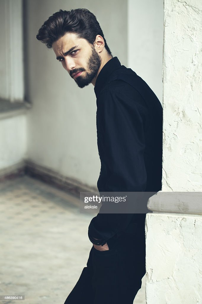 Fashion portrait of a handsome bearded man. : Stock Photo