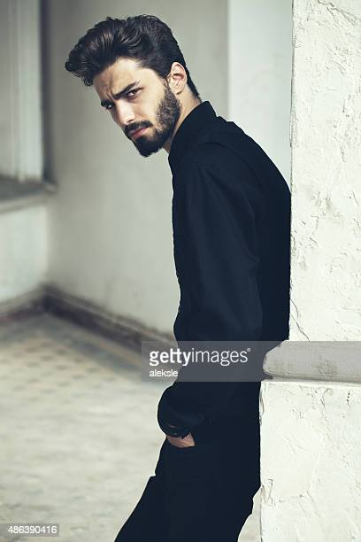 Fashion portrait of a handsome bearded man.