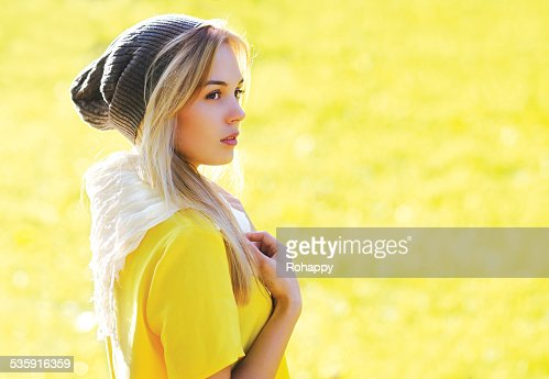 Fashion portrait pretty stylish hipster girl outdoors : Stock Photo