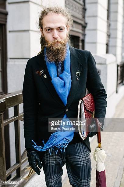 Fashion PR Daniel poses wearing an outfit designed and styled by Florin Dobre at the Matthew Miller catwalk presentation during The London...