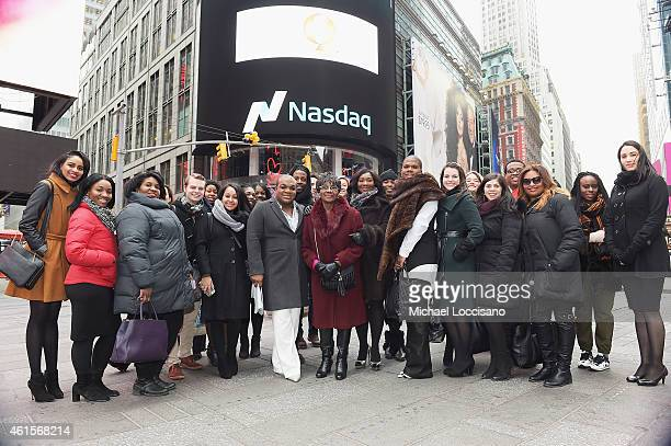 Fashion Queens cast crew and family pose outside after ringing the NASDAQ opening bell at NASDAQ MarketSite on January 15 2015 in New York City