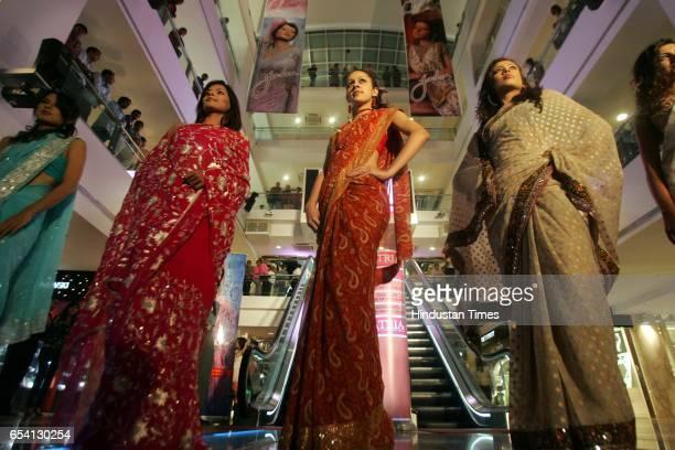 Fashion Sarees Models display the Jashn Sarees at Atria Mall Worli