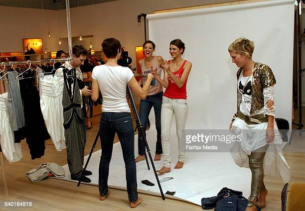 Fashion shoot at the Sass Bide denim launch at the Corner Shop in the Strand Arcade Sydney 27 November 2006 SHD Picture by LEE BESFORD