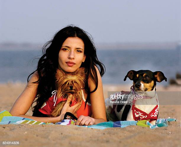 Fashion shoot for New York Dog Magazine Francine with Baby a Teacup Yorkie and Jake a Fox Terrier Baby wears a soft mesh tank top by Puppia Jake...