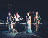 Female models in a fantasy dresses on fashion show (Bled, Slovenia).