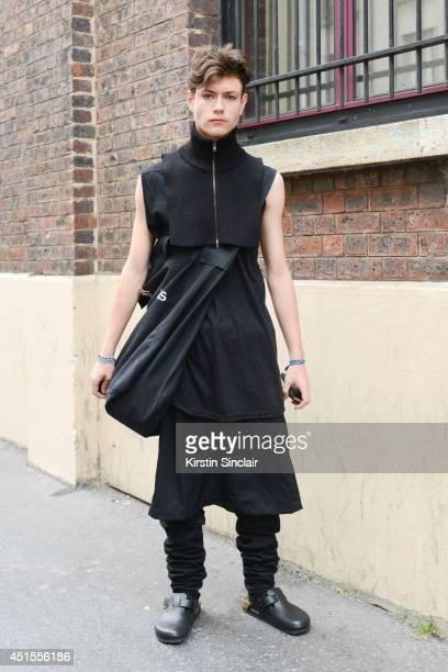 Fashion student and designer for After Homework Peter Kaczmarek wearing Comme Des Garcons skirt and bag Rick Owen vest Margiella scarf After Homework...