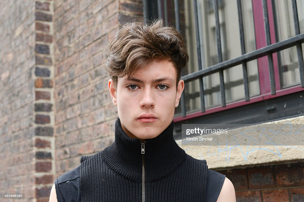 Fashion student and designer for After Homework Peter Kaczmarek wearing Rick Owen vest, Margiella scarf on day 1 of Paris Collections: Men on June 25, 2014 in Paris, France.