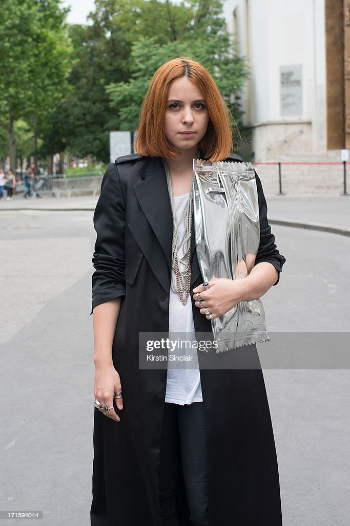 Fashion Student Andrea Goornet wears an H and M jacket, trousers and bag, vintage t shirt and Cos necklace on day 1 of Paris Collections: Men on June 26, 2013 in Paris, France.