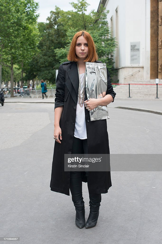 Fashion Student Andrea Goornet wears an H and M jacket, trousers, boots and bag, vintage t shirt and Cos necklace on day 1 of Paris Collections: Men on June 26, 2013 in Paris, France.