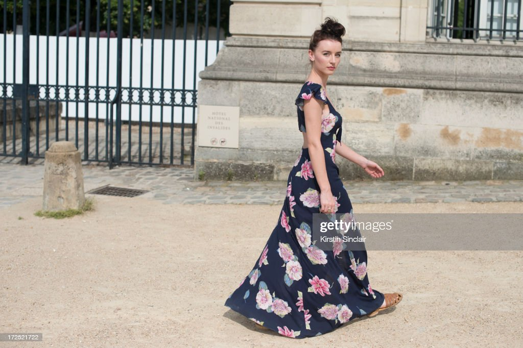 Fashion Student Elie McLean wears an Urban Outfitters dress, Sports Girl shoes on day 1 of Paris Collections: Womens Haute Couture on July 01, 2013 in Paris, France.