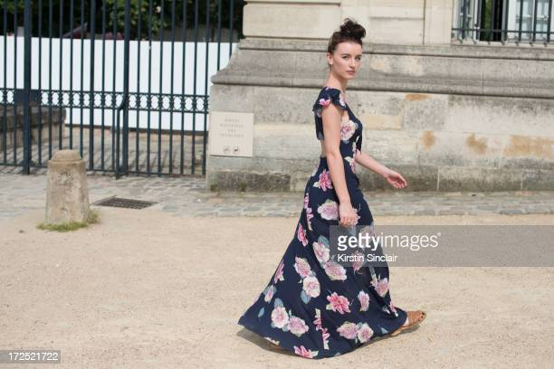 Fashion Student Elie McLean wears an Urban Outfitters dress Sports Girl shoes on day 1 of Paris Collections Womens Haute Couture on July 01 2013 in...