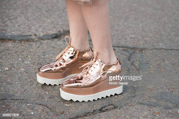 Fashion student Jaime Lo wears Stella McCartney shoes on day 2 of Paris Haute Couture Fashion Week Spring/Summer 2016 on January 25 2015 in Paris...
