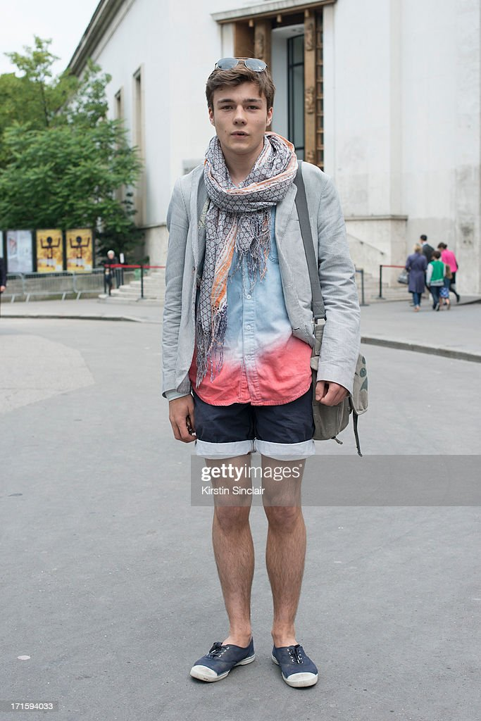Fashion Student Jeremy Edeler wears Bens Sherman shoes, Skotch and Soda shorts, Top Man shirt, Balthazar scarf and a Zara Jacket on day 1 of Paris Collections: Men on June 26, 2013 in Paris, France.