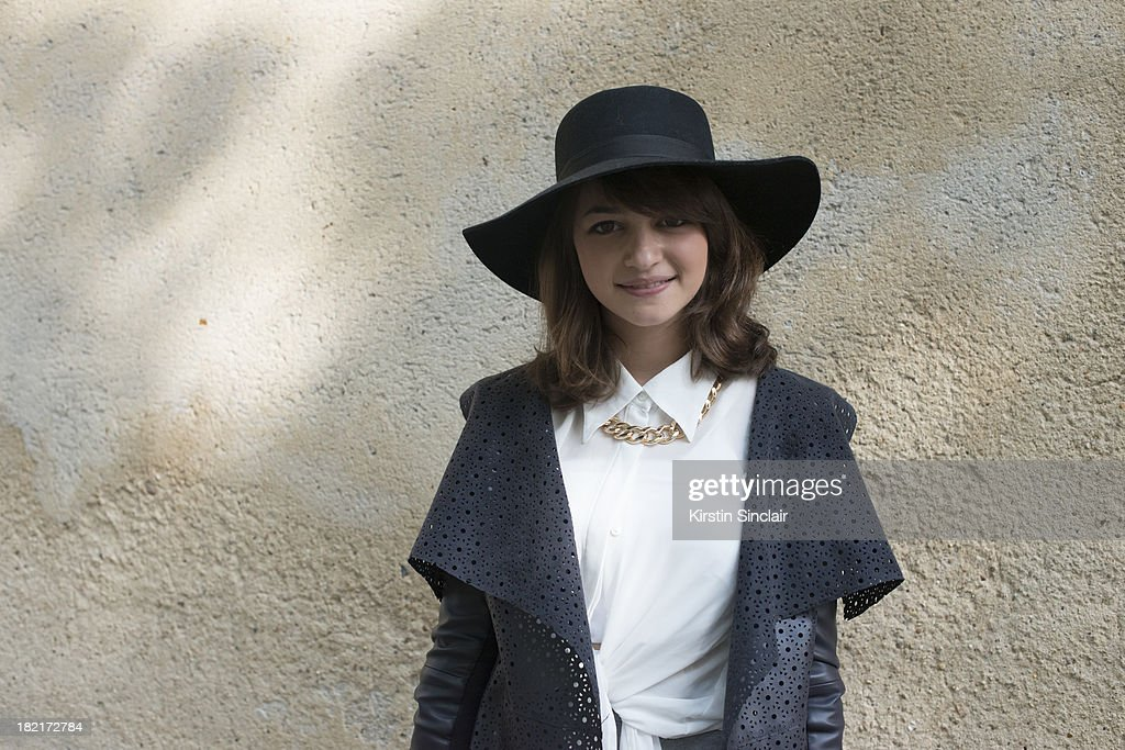 Fashion student Marloes Kamer wears a River Island jacket, necklace and hat, vintage shirt and a Zara bag on day 4 of Paris Fashion Week Spring/Summer 2014, Paris September 27, 2013 in Paris, France.