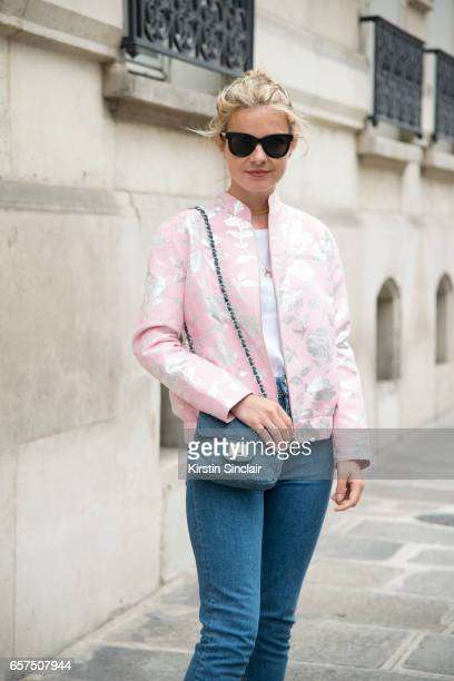 Fashion student Mathilde Martial wears a Paul Joe jacket ASOS jeans and HM bag day 2 of Paris Haute Couture Fashion Week Autumn/Winter 2016 on July 4...
