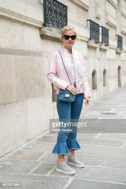 Fashion student Mathilde Martial wears a Paul Joe jacket ASOS jeans and HM shoes and bag day 2 of Paris Haute Couture Fashion Week Autumn/Winter 2016...