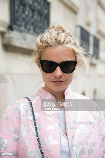 Fashion student Mathilde Martial wears a Paul Joe jacket day 2 of Paris Haute Couture Fashion Week Autumn/Winter 2016 on July 4 2016 in Paris France