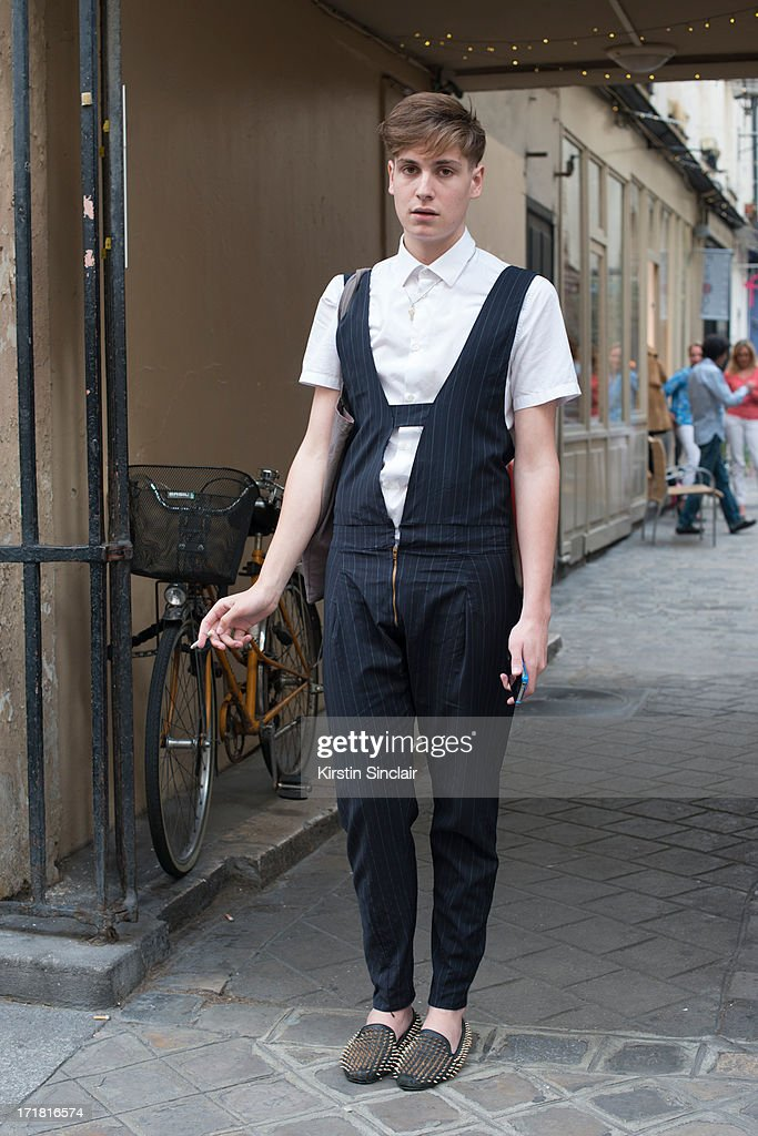 Fashion Student Nicolas Lecourf Mansion wears Unif clothing shoes, a Cos shirt and dungaress he made himself on day 3 of Paris Collections: Men on June 28, 2013 in Paris, France.