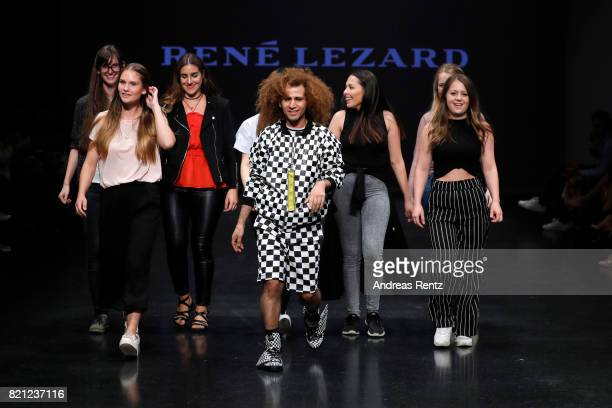 Fashion students on the runway after the AMD Exit17_2 show during Platform Fashion July 2017 at Areal Boehler on July 23 2017 in Duesseldorf Germany