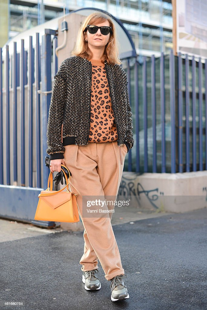 Fashion stylist Alessia Fagioli Galeone poses wearing a Maurizio Pecoraro jacket Tak Ori sweater Nike shoes and Casamusa bag on January 17 2015 in...